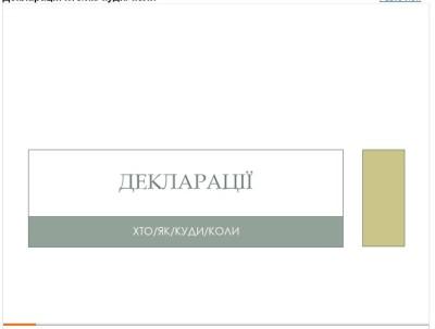 Леся Іванова: Декларації. Хто? Як? Куди? Коли?